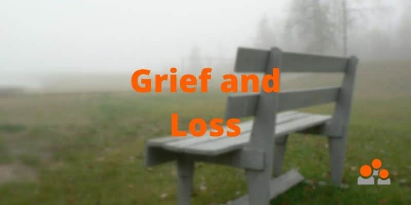 an empty bench in a field suggesting grief and loss